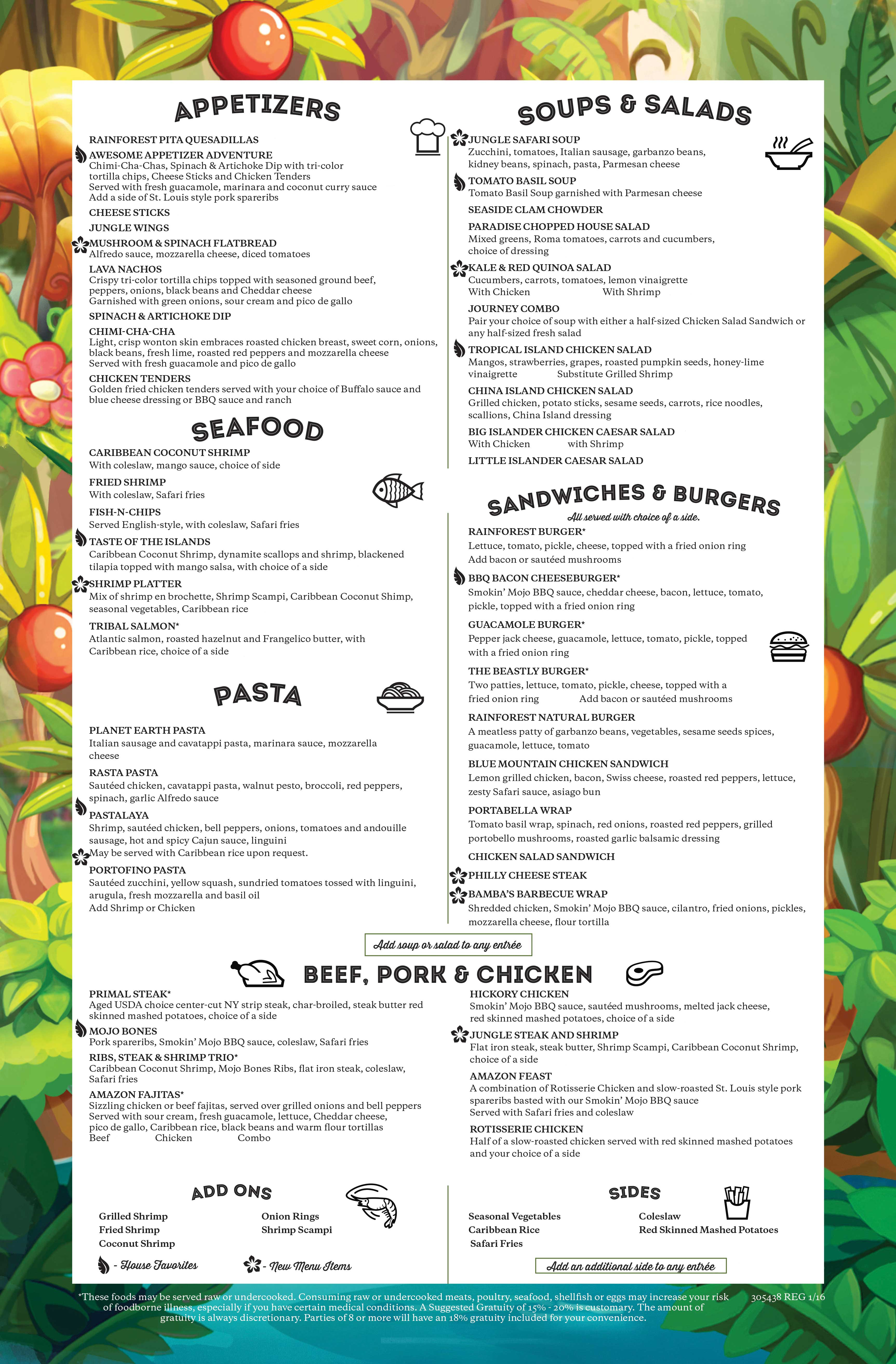 Rainforest Cafe Menu In Niagara Falls